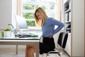 Back pain from bad posture at desk
