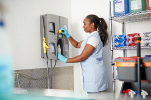 Woman using dilution control system